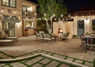 Spanish style fireplace and outdoor patio in Sierra Madre_ CA
